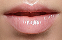 Pearl is (smiling edges) open and raised corners of the mouth.